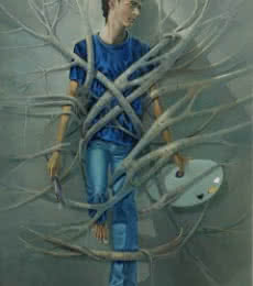 Figurative Oil Art Painting title 'Caged Freedom' by artist Bijay Biswaal