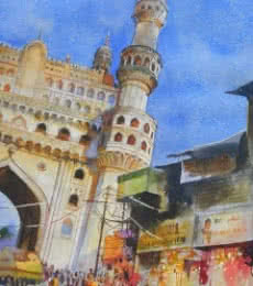 Cityscape Watercolor Art Painting title Charminar by artist Bijay Biswaal
