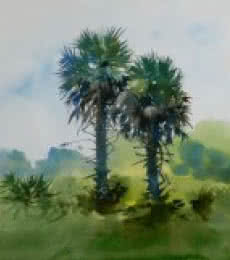 Nature Watercolor Art Painting title 'Coconut Trees' by artist Bijay Biswaal