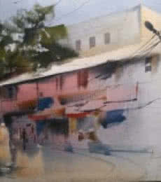 Cityscape Watercolor Art Painting title 'Gadkariwada' by artist Bijay Biswaal