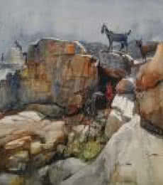 Cityscape Watercolor Art Painting title Goats On The Rock by artist Bijay Biswaal