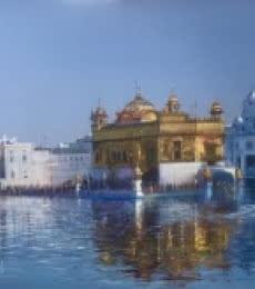 Cityscape Acrylic Art Painting title 'Golden Temple' by artist Bijay Biswaal