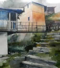 Hilly Cottage | Painting by artist Bijay Biswaal | watercolor | Paper