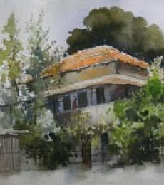House At Dhantoli | Painting by artist Bijay Biswaal | watercolor | Handmade Paper