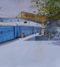 Bijay Biswaal Paintings | Watercolor Painting title Korba Platform by artist Bijay Biswaal | ArtZolo.com