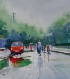 Bijay Biswaal | Watercolor Painting title Life After Rain I on Paper | Artist Bijay Biswaal Gallery | ArtZolo.com