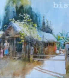 Cityscape Watercolor Art Painting title 'Odhisa Village' by artist Bijay Biswaal