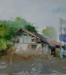 Cityscape Watercolor Art Painting title 'Old Houde' by artist Bijay Biswaal