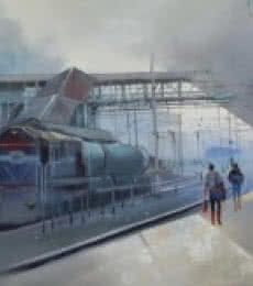 Platform | Painting by artist Bijay Biswaal | acrylic | Canvas