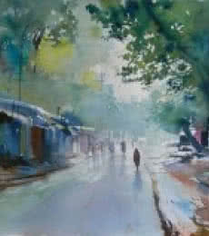 Bijay Biswaal | Watercolor Painting title Rain on Paper | Artist Bijay Biswaal Gallery | ArtZolo.com