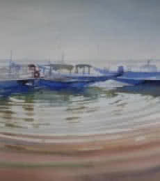 Bijay Biswaal | Watercolor Painting title Ripples In The Water on Paper | Artist Bijay Biswaal Gallery | ArtZolo.com