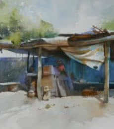 Bijay Biswaal | Watercolor Painting title Roadside Stall on Paper | Artist Bijay Biswaal Gallery | ArtZolo.com