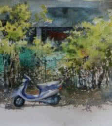 Bijay Biswaal | Watercolor Painting title Scooter Ouside Home on Paper | Artist Bijay Biswaal Gallery | ArtZolo.com