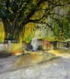 Smoke By The Road Side | Painting by artist Bijay Biswaal | watercolor | Canson Paper