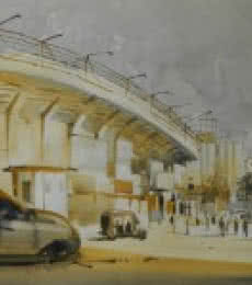 Bijay Biswaal Paintings | Watercolor Painting title Stadium by artist Bijay Biswaal | ArtZolo.com