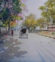 Bijay Biswaal | Watercolor Painting title Summer Evening on Paper | Artist Bijay Biswaal Gallery | ArtZolo.com