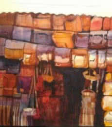 Bijay Biswaal | Watercolor Painting title The Bag House on Paper | Artist Bijay Biswaal Gallery | ArtZolo.com