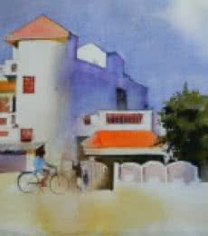 Cityscape Watercolor Art Painting title 'The House With A Orange Cap' by artist Bijay Biswaal