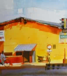 Cityscape Watercolor Art Painting title 'The Yellow Building' by artist Bijay Biswaal