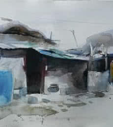 Cityscape Watercolor Art Painting title Village III by artist Bijay Biswaal