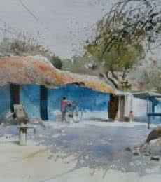 Village Side | Painting by artist Bijay Biswaal | watercolor | Paper