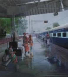 Scenic Acrylic Art Painting title 'Wet Platform' by artist Bijay Biswaal