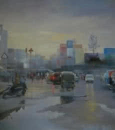 Bijay Biswaal | Acrylic Painting title Wet Nagpur on Canvas | Artist Bijay Biswaal Gallery | ArtZolo.com