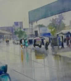Cityscape Watercolor Art Painting title 'Wet Nagpur' by artist Bijay Biswaal