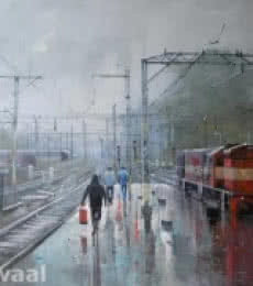 Wet Platform Pune | Painting by artist Bijay Biswaal | acrylic | Canvas
