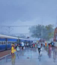 Cityscape Acrylic Art Painting title 'Wet Platform Rajnandgaon' by artist Bijay Biswaal
