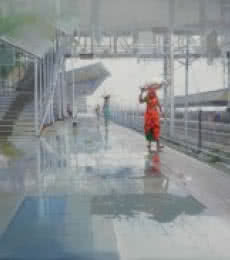 Wet Platform III | Painting by artist Bijay Biswaal | acrylic | Canvas