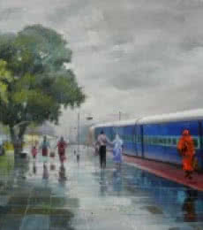 Cityscape Acrylic Art Painting title Wet Platform Korba by artist Bijay Biswaal