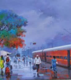 Wet Platform Red | Painting by artist Bijay Biswaal | acrylic | Canvas