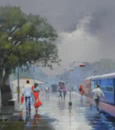 Wet Platform VI | Painting by artist Bijay Biswaal | acrylic | Canvas