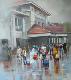 Bijay Biswaal | Acrylic Painting title Wet Station on Canvas | Artist Bijay Biswaal Gallery | ArtZolo.com