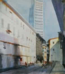 Cityscape Watercolor Art Painting title 'White Building' by artist Bijay Biswaal