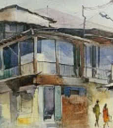 Bijay Biswaal | Watercolor Painting title Wild House In Mahal on Paper | Artist Bijay Biswaal Gallery | ArtZolo.com