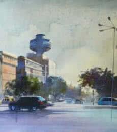 Cityscape Watercolor Art Painting title 'Ye Hai Mumbai Meri Jaan' by artist Bijay Biswaal