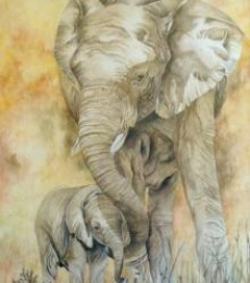Animals Watercolor Art Painting title Gentle Giants by artist Anjana Sihag