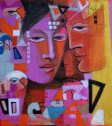 Figurative Acrylic Art Painting title Face Within by artist Madan Lal