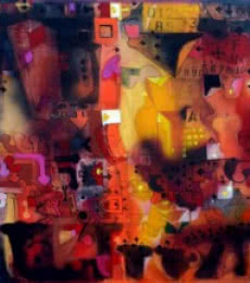 Abstract Acrylic Art Painting title 'Urban Mirage I' by artist Madan Lal