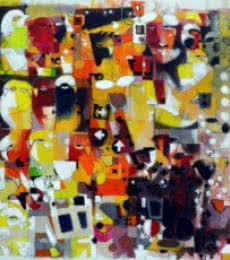 Abstract Acrylic Art Painting title 'Urban Noise II' by artist Madan Lal