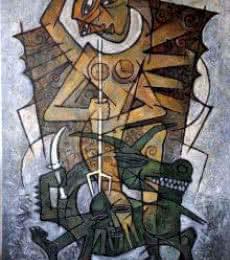 Rupchand Kundu | Acrylic Painting title Durga 1 on Canvas | Artist Rupchand Kundu Gallery | ArtZolo.com