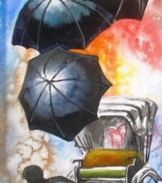 Cityscape Watercolor Art Painting title 'Monsoon IV' by artist Ananda Das
