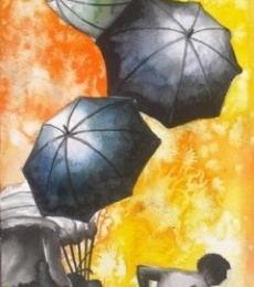 Monsoon V | Painting by artist Ananda Das | Watercolor | Paper