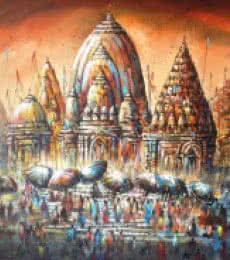 Cityscape Acrylic Art Painting title 'Banaras Ghat III' by artist Ananda Das