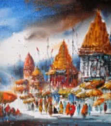 Cityscape Acrylic Art Painting title 'Banaras Ghat IV' by artist Ananda Das