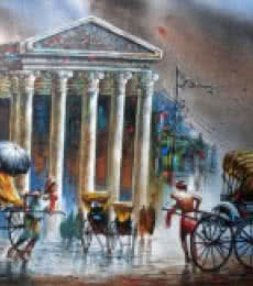 Cityscape Acrylic Art Painting title 'Kolkata II' by artist Ananda Das