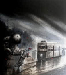 Cityscape Acrylic Art Painting title 'Kolkata III' by artist Ananda Das