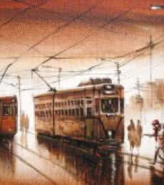 Cityscape Acrylic Art Painting title 'Kolkata V' by artist Ananda Das